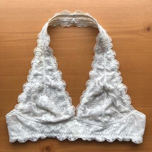 Free People Lace Halter Bralette White